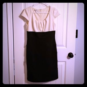 Size 8 Capsleeve Two Tone Knit Cream/Blk dress